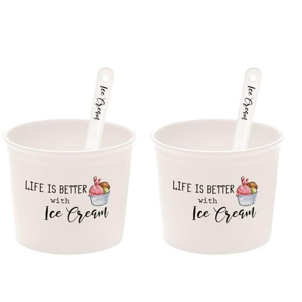 Set 6 coppette gelato con cucchiaini in porcellana Easy Life